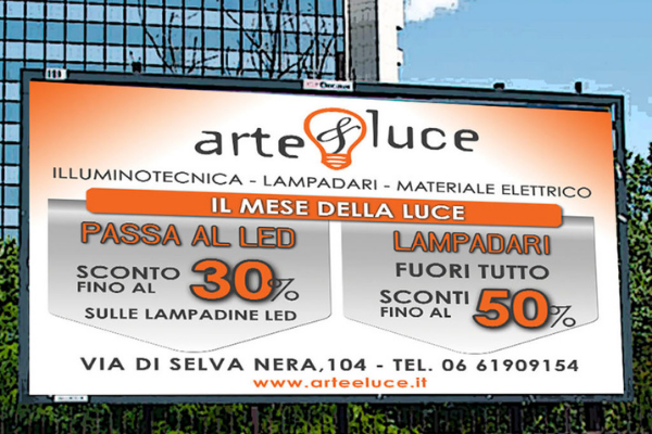 Cartellone pubblicitario che pubblicizza negozio di illuminotecnica