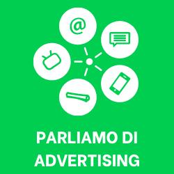 """Icone pubblicitarie con la scritta """"parliamo di advertising"""""""