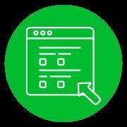 disegno simbolo di un sito web in bianco su sfondo verde