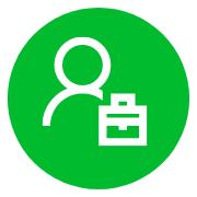 disegno simbolo di professionista in bianco su sfondo verde