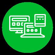 disegno di schermi di varie dimensioni in bianco su sfondo verde